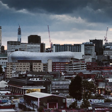 A picture of birmingham with ATMs and Cashpoints near by